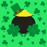 Mynt, hatt och växt av släktet Trifolium symbolet av den St Patrick s dagen stock illustrationer