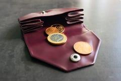 Mynt i en liten handväska Begrepp - kostnader, besparingar som shoppar Sele Arkivbild