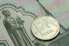 Mynt i en sedel för rysk rubel tusen rubel royaltyfria bilder