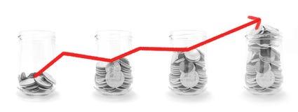 Mynt i exponeringsglaset med röd linjegrafen bokar för finans-, investering- och bankrörelsebegrepp arkivfoto