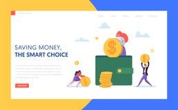 Mynt i sida för plånbokonline-kassalandning Kvinna som sätter dollaren till det säkra fallet Online-besparing- och betalningbegre royaltyfri illustrationer