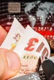 Mynt, kreditkortar och brittiska pund på tidningen Royaltyfria Foton