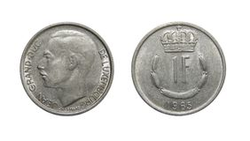 Mynt Luxembourg 1 franc Arkivfoto