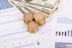Mynt och dollarsedlar på diagram för stångdiagram Arkivbilder