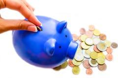 Mynt och moneybox Arkivfoto