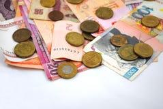 Mynt och sedlar av olika länder Arkivfoto