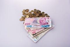 Mynt och sedlar för turkisk Lira sid - förbi - sidan Arkivfoton