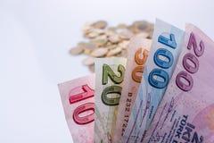 Mynt och sedlar för turkisk Lira sid - förbi - sidan Arkivbild