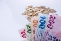 Mynt och sedlar för turkisk Lira sid - förbi - sidan Royaltyfri Foto