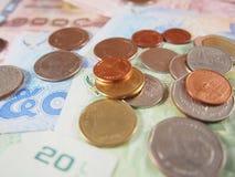 Mynt på sedlar, pengar för thai baht Royaltyfri Bild