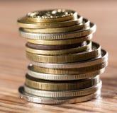 Mynt på tabellen Makro fotografering för bildbyråer