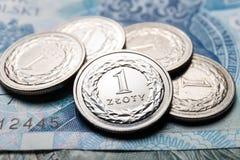mynt polerar zloty Fotografering för Bildbyråer