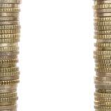 Mynt som bildar en ram med kopieringsutrymme royaltyfri foto