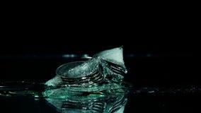 Mynt som frysas i isen stock video