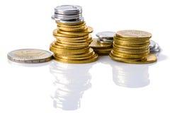 Mynt som isoleras på white Fotografering för Bildbyråer