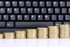 Mynt & tangentbord Fotografering för Bildbyråer