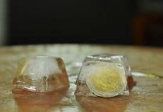 Mynta att frysa i iskub på träbräde Arkivfoton
