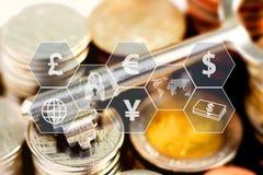 Myntar bunten och tangent med symbolen som är faktisk på tabellen Begreppet av affärstillväxt, finansiellt eller internationell h stock illustrationer