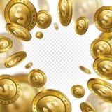 Myntar den realistiska guld- dollaren 3d för förmögenhet flyg på genomskinlig bac Arkivbilder