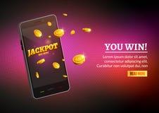 Myntar den smarta telefonen för jackpottpengar stor seger Stor inkomst tjänar den mobila teknologibaneraffischen Arkivfoton