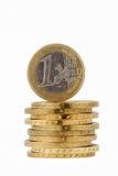 Myntar euroet som isoleras på vit bakgrund Royaltyfria Bilder