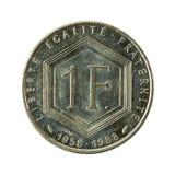 1 myntavers 1988 för fransk franc royaltyfri foto