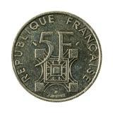 myntavers 1989 för fransk franc 5 arkivbilder
