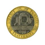 myntavers 1990 för fransk franc 10 arkivfoto