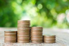 Myntbunt på den wood tabellen med det suddiga gröna bladet för bakgrund, Sav Royaltyfria Bilder