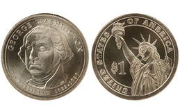 myntdollar presidents- washington Royaltyfria Bilder