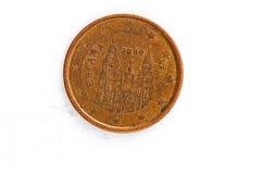 Myntet för cent för euro 5 med den Spanien baken använde blick Arkivbilder