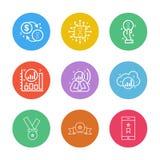 myntet golemen, dollar, chipen, ic, grafen, moln, ilar telefonen stock illustrationer