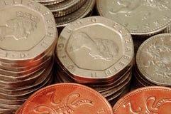 myntet staplar uk Arkivfoto