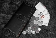 Myntpengarnärbild inomhus fotografering för bildbyråer