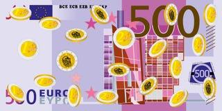 Myntregn - euro Arkivbilder
