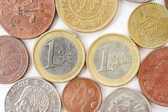 Myntsamling med gamla mynt Fotografering för Bildbyråer