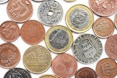 Myntsamling med gamla mynt Arkivfoton