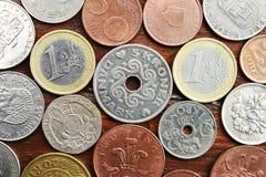 Myntsamling med gamla mynt Royaltyfri Bild
