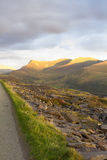 Mynydd Drws-y-Coed, Nantlle Ridge. Sunset lighting of Mynydd Drws-y-Coed, Nantlle Ridge, Snowdonia National Park, Gwynedd, Wales, United kingdom Stock Photography