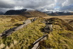 Mynydd Mawr. A view of the mountain Mynydd Mawr and the Nantlle Ridge, Snowdonia National Park, Wales, UK, with snow covered tops on a cloudy day Stock Photos