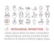 Myocardial infarction line icon. Symptoms, Treatment. Stock Photo