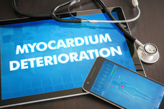 Myocardium deterioration (heart disorder) diagnosis medical concept on tablet screen with stethoscope.  stock photos