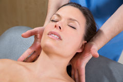Myofascial therapy on beautiful woman shoulders Royalty Free Stock Photo