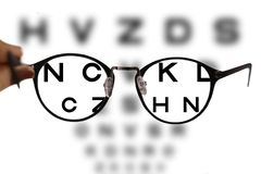 Myopia correction glasses on the eye chart letters. Background Stock Photography