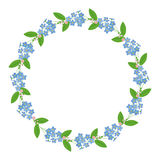 Myosotis forget-me-nots floral plant decor border wreath dark. Myosotis forget-me-nots floral plant decor border wreath save the date celebration greeting on Stock Illustration