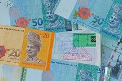 MYR di ringgit malese, mone differente della banconota del dollaro della Malesia Fotografia Stock Libera da Diritti