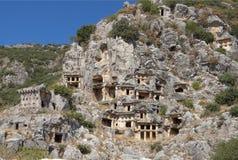 Myra był starożytnego grka miasteczkiem w Lycia Grobowiec rzeźbił w Obrazy Royalty Free