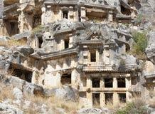 Myra był starożytnego grka miasteczkiem w Lycia Grobowiec rzeźbił w t Zdjęcia Royalty Free