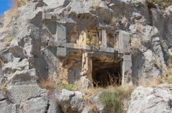 Myra był starożytnego grka miasteczkiem w Lycia Grobowiec rzeźbił w t Obrazy Stock