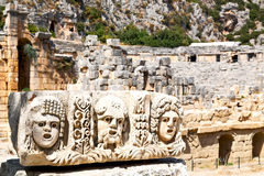 In  myra   indigenous tomb stone. Myra    in turkey europe   old roman necropolis and indigenous tomb stone Stock Photo